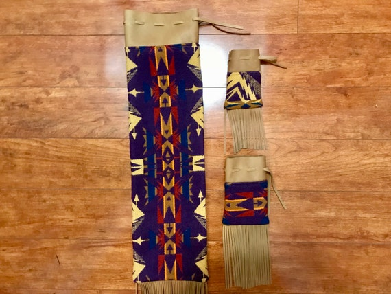 Made to Order - Fringed Pipe Bag Set / Possibles Bag Set / Medicine Bags Handcrafted Using Fabric from Pendleton Woolen Mill