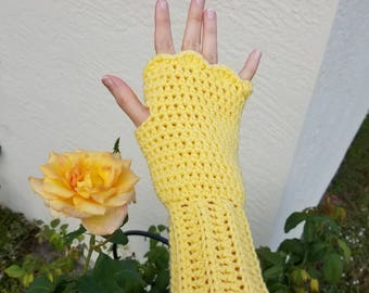 Women's Fingerless Gloves, Wristers, in Lemon Yellow, Handmade Crochet