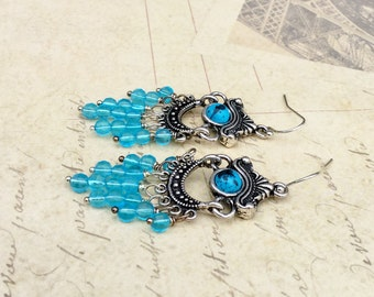 Blue Earrings, Aqua Earrings, Aquamarine Earrings, Turquoise Earrings, Turquoise Chandelier Earrings, Blue Dangle Earrings, Silver Earrings