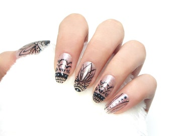 Pink Mandala Nails / Fake nails, glue on nails, press on nails, nail art, gift women, wedding, jewelry, henna, tattoo, yoga, festival, nude