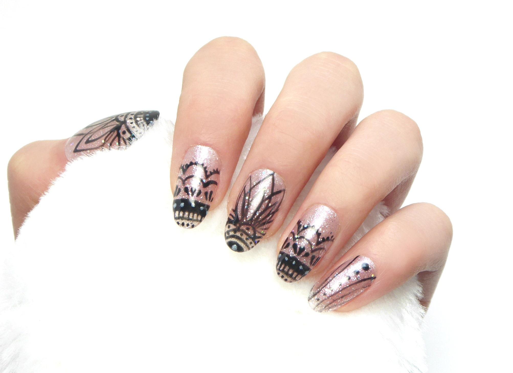 Roze Mandala Nails / valse nagels lijm op nagels druk op de