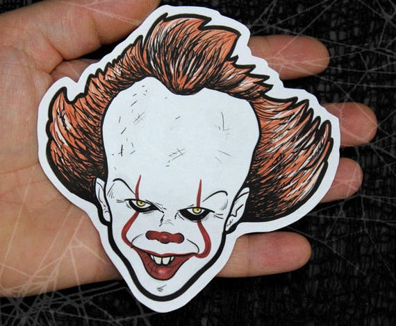 Pennywise it 2017 stephen king inspired large paper sticker