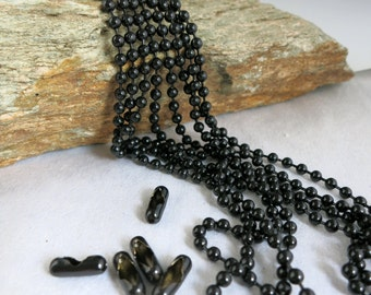 3.2mm BLACK Ball Chain 1 ft to 30 ft, Epoxy Coated Steel, Free Connectors, Bulk Chain Choose Length, Ready to Ship!