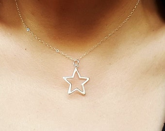 Simple Silver Star Necklace, Open Star necklace in Sterling silver, Delicate necklace, Minimalist necklace, Layering Necklace