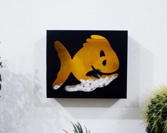 Betta fish bowl etsy for Betta fish mirror