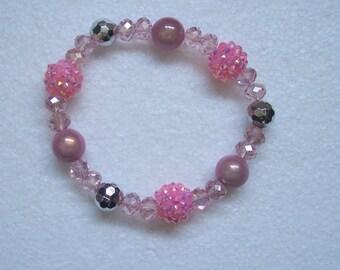 Pink Disco Bead Crystal Chunky Stretch Bracelet