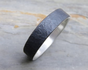 Rugged Stone Texture Wedding Band for Men or Women - Distressed Silver Stone Ring -  4mm, 5mm, or 6mm Flat Band in Blackened Sterling Silver