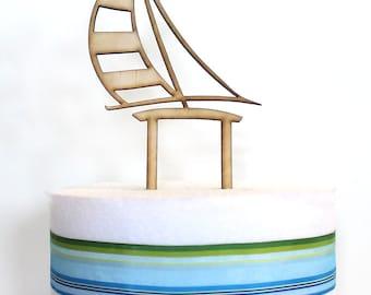 Sailboat Cake Topper, wood cake topper, wedding cake topper, sailboat laser cut, bridal shower, baby shower