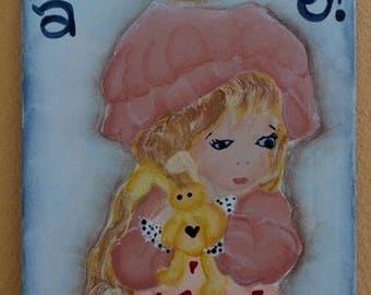 """Hand painted wooden plaque """"Goodnight"""" for Girls"""