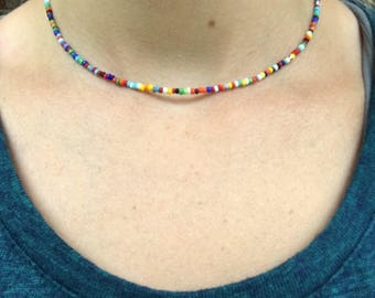 KD Collection   Dainty Colorful Seed Bead Choker with 2 inch Extender