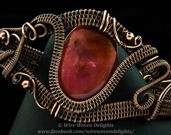 Wire Woven Cuff with Pink Focal Bead