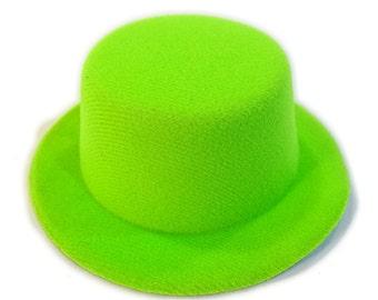 """5"""" Lime Green Mini Flocked Felt Top Hats"""