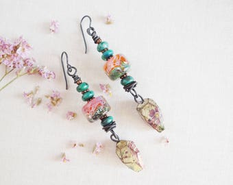 Let The Good Time Roll.Earrings-Chrysocolla Stone-Artisan lampwork-Ceramic Decal dangle-Feminine -Poetic handmade Earrings by Yeelen Spirit
