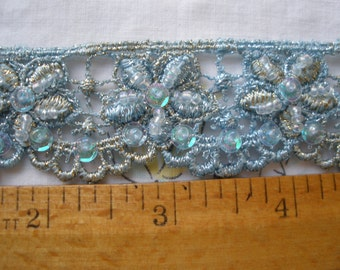 """Gold & Ice Blue Metallic Beaded Floral Venise Lace trim 1 1/4"""" wide scalloped edge Embellish variegated by the yard sequin 32mm Frozen Elsa"""