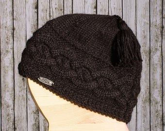 Black 100% baby alpaca Hat
