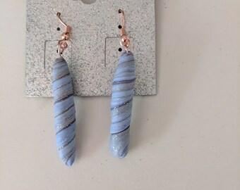 Light blue, silver, sparkling earrings