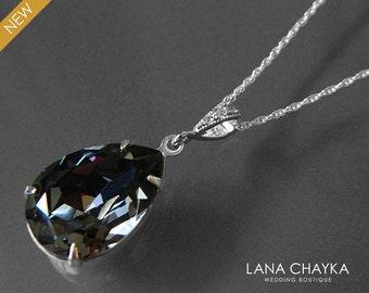 Silver Night Crystal Necklace Swarovski Silver Night Rhinestone  Necklace Charcoal Teardrop Crystal Necklace Prom Jewelry Wedding Jewelry