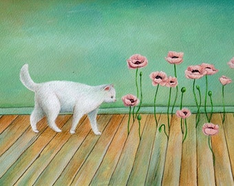 Cat and Poppies, Art Print, Watercolor Art, Wall Art, Bedroom Decor, Girls Bedroom Art, Whimsical Art, Home Decor, Girls Gift, Poppies Art