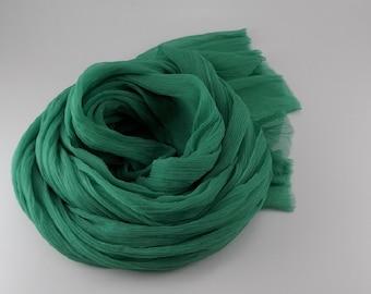 Handmade Silk Scarf / Wrinkle Scarf / Crinkle Scarf --- Jade Green