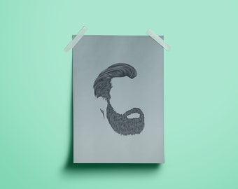 Simple Bearded Man Poster Illustration