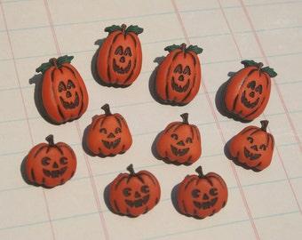 Jack O Lantern Buttons - Halloween Sewing Button - 10 Shank Buttons