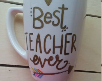 Personalized Teacher Coffee Cup - Valentine's Gift For Teacher - Best Teacher Ever Coffee Mug - 12 oz. Made By CShellsandSequins