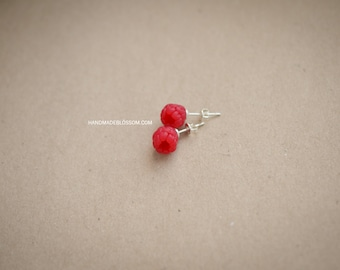 Raspberries stud earrings, Handmade berry stud, Sterling silver studs, Red berries earrings