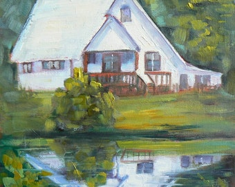 """House Painting, Daily Painting, Small Landscape Painting, Painting on Sale, 8x8"""" """"Beside the River"""""""