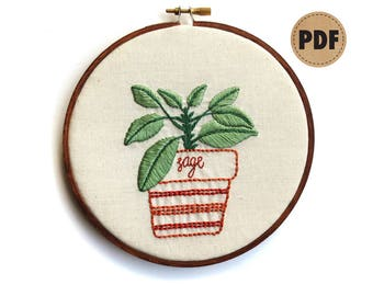 Sage PDF Embroidery Pattern, Botanical Wall Art, Herb Garden Embroidery Design, Potted Herbs, DIY Crafts, Plant Lover Gift, Digital Download