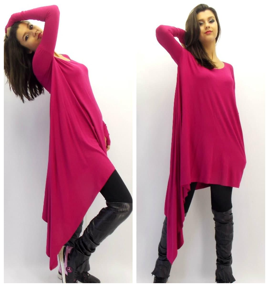 dark fuchsia loose tunic plus size tunic dress loose tunic