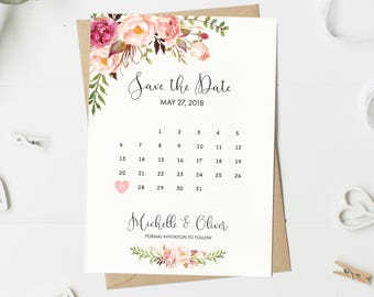 Save The Date Card, Floral, Calendar Save The Date, Watercolor, Spring, Summer, Boho, Wedding Announcement, Printable, Printed