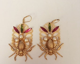 Spider Earrings, Handmade original. 24kt gold plated.