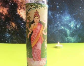 "Lakshmi ϟ 8"" Altar Candle - Hinduism - meditation - yoga - channeling - worship - handmade"