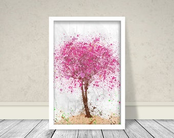 Cherry Blossom Tree Watercolor, Tree Watercolor, Cherry Blossom Watercolor, Cherry Blossom Printable, Abstract Tree