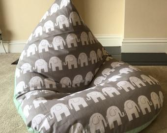 Childrens kids grey elephant beanbag bean bag gaming reading chair