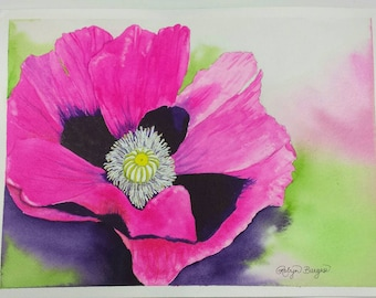 Pink Poppy Perfection original watercolor painting