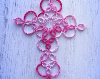 For Beth ~ Pink tatted cross bookmark
