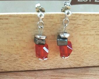 Red Earrings - Silver Drop Earrings - Cube Earrings - gifts for a friend