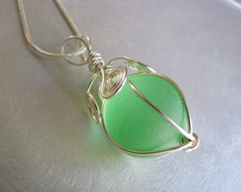 Authentic Sea Glass Jewelry -Iridescent Green Marble Pendant - Sea Glass Pendant - Beach Glass Jewelry - Prince Edward Island Ocean Gifts