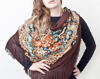 Summer Party, Bohemian Shawl Brown Floral Scarf Beautiful Ukrainian shawl Summer Outdoors Long Scarf Grandma Gift Fashion Scarf