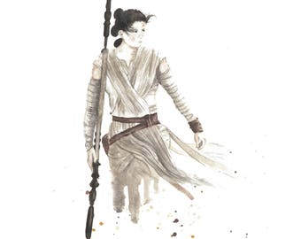 Rey Star Wars Force Awakens Watercolor 8x10 Art Print