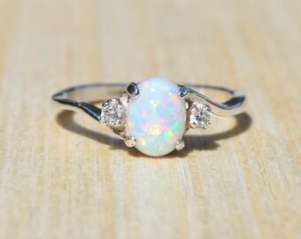 Opal Ring, White Opal Ring, Sterling Silver Opal Ring, Silver Opal Ring, Birthstone Ring, Promise Ring, Engagement Ring