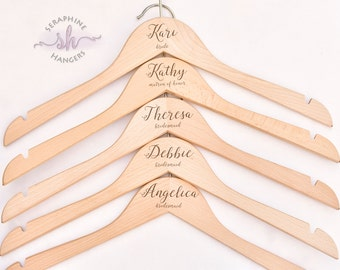 SET OF 10 Personalized Hangers, Wedding Gift, Wedding Hanger, Wedding Party Gift, Engraved Hanger, Wood Hanger, Dress Hanger H03