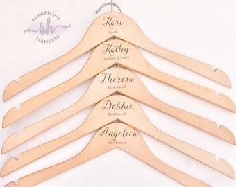 SET OF 9 Personalized Hangers, Wedding Gift, Wedding Hanger, Wedding Party Gift, Engraved Hanger, Wood Hanger, Dress Hanger H03