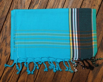 Decorative Kenyan Kikoy Scarf ~ Blue/Teal Stripe 00073