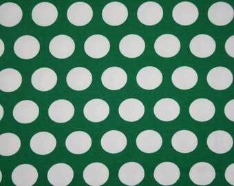 Peppermint  green with big white dots Christmas dots 1 yard cotton lycra knit