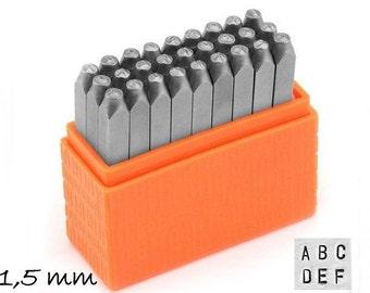 1 set letter stamp hallmark of 1.5 mm Basic (sans serif) uppercase Impressart uppercase