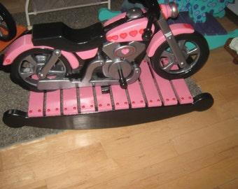 Childs Kids Girls Wood Motorcycle Rocker