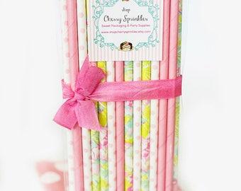 Lilly Pulitzer Pink straws - Floral Straws - Pink Party Supplies - Pink Lemonade -Blush Pink Wedding decor -Blush straws -Paper Straws -Mint