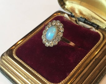 Opal Ring, Gold Opal Ring, Vintage Opal Gold ring, 9 carat Gold, Opal Jewellery. Exquisite Ring.